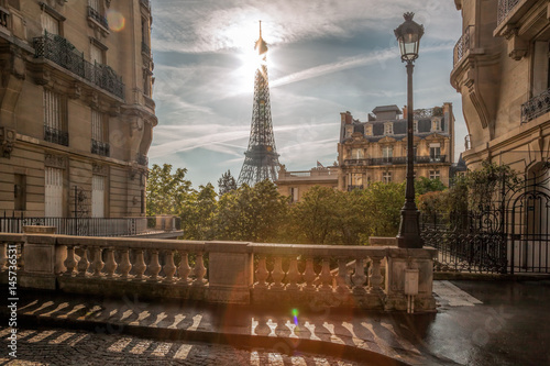 Romantic street view with Eiffel Tower in Paris, France Poster