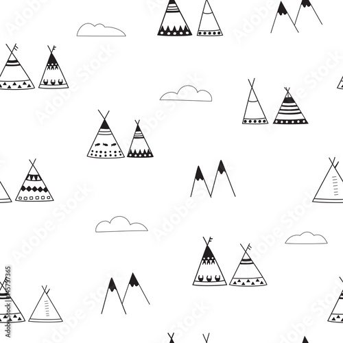 Cotton fabric Indian wigwams minimalistic seamless background. Black and White Pattern. Wigwams, mountains and clouds
