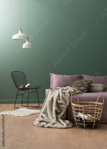 Plagát bedroom interior style with black metal chair and blanket