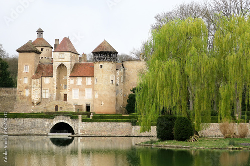 Plagát beautiful classic castle in the south of France with moat and a beautiful weepin