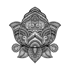 stylized black Vector ornamental Lotus oriental zen tangle design, ethnic henna tattoo sketch in doodles onament. illustration for coloring book for adult.