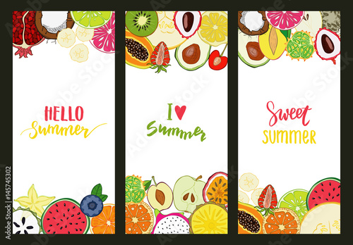 Set of summer cards with fruits background and lettering text. - 145745302
