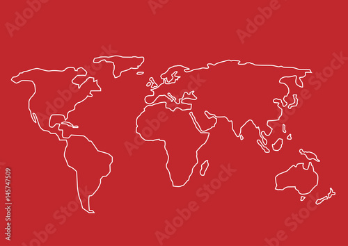 Fototapeta Hand drawn World map