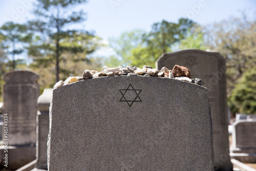 Plakát Headstone in Jewish Cemetery with Star of David and Memory Stones