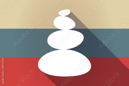 ong shadow Russia flag with a stacked zen stones