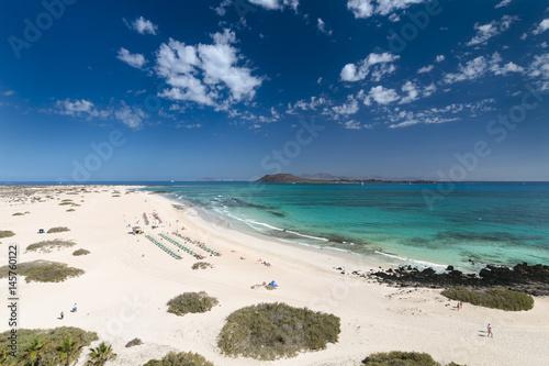 Deurstickers Canarische Eilanden Corralejo Coastline in Fuerteventura, Spain