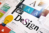 Graphic design. Concept for different categories of design such as graphic and web design, logo, stationary and product design, company identity, branding, marketing material, mobile app, social media - 145776536
