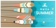 Hello summer background with colorful canoe paddles on wooden pier , vector , illustration