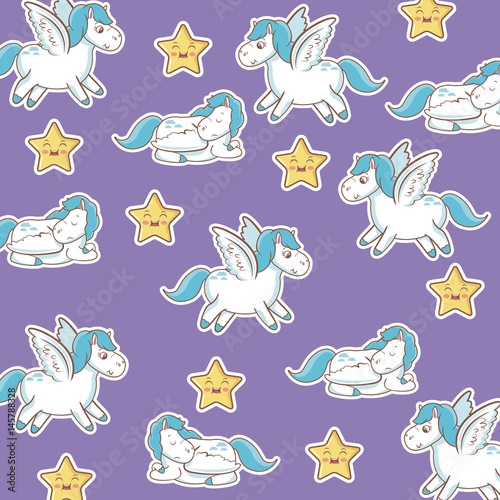 Materiał do szycia unicorn with wings star kawaii seamless pattern purple background vector illustration