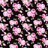 Seamless floral pattern with pink roses and leaves on black background - 145794915