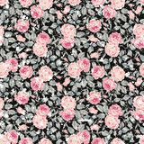 Vintage seamless floral pattern with pink roses and leaves on black background - 145794940