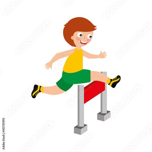 little kid in obstacle race vector illustration design