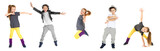 Fototapety Cute funny girl dancing on white background