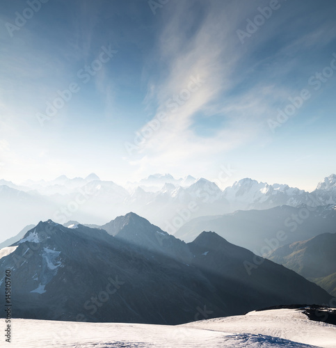 High mountain in morning time. Beautiful natural landscape - 145805760