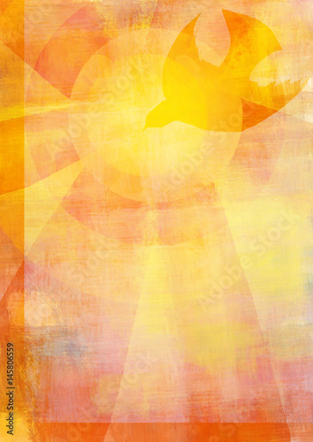 Holy Spirit, Pentecost or Confirmation symbol with a dove, and bursting rays of flames or fire. Abstract modern religious digital illustration background