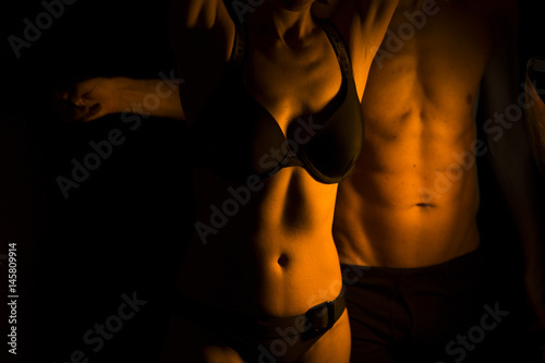 Sexy slim nude couple Poster
