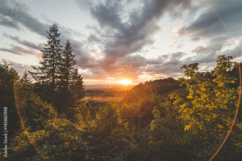 Landscape and Sky at Sunset Poster