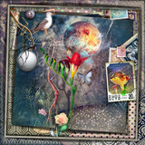 Surreal landscape with tropical red flower in the night,stamps,dove and full moon