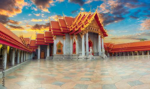 Foto op Canvas Bangkok The Marble Temple, Wat Benchamabopitr Dusitvanaram Bangkok THAILAND