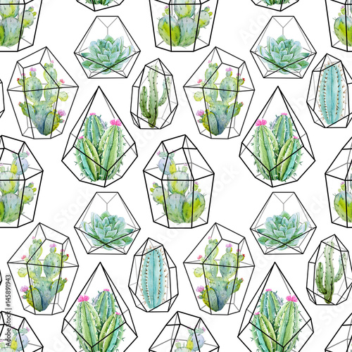 akwarela-kaktus-wzor