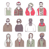 set of hand drawn doodle people. funny portraits. vector avatar - 145895792
