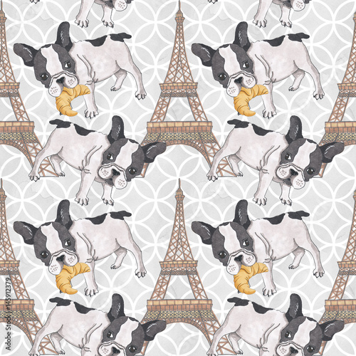 In de dag Art Studio French Buldog with Croissant Hand-Painted Eiffel Tower Illustration Seamless Pattern Background Texture Wallpaper Scrapbook