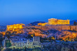 Leinwanddruck Bild - The Acropolis, UNESCO World Heritage Site, Athens, Greece, Europe. Acropolis is famous travel destination, after sunset scenery.