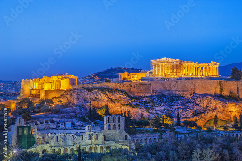 Fotobehang Athene The Acropolis, UNESCO World Heritage Site, Athens, Greece, Europe. Acropolis is famous travel destination, after sunset scenery.