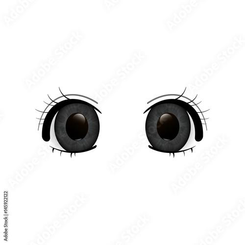 Anime Eyes. Human eyes closeup. Beautiful big cartoon eyes. Vector illustration - 145922122