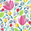 Vector floral pattern in doodle style with pink flowers and leaves. - 145926111