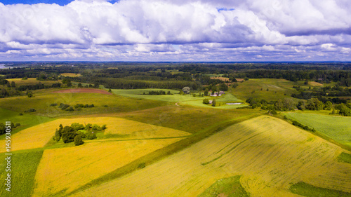 Fotobehang Purper Drone flight over the farmland
