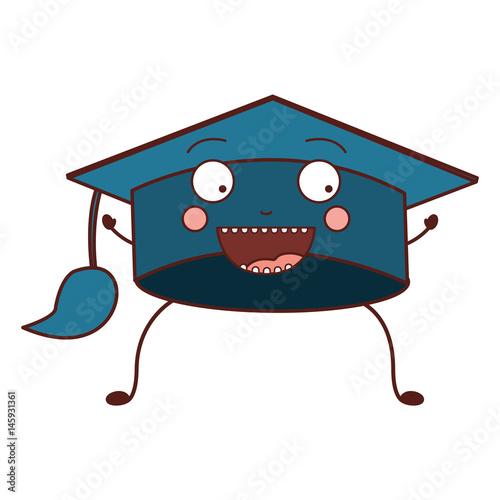 color caricature of graduation cap vector illustration