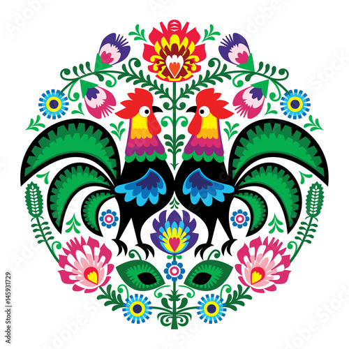Polish folk art floral embroidery with roosters, traditional pattern - Wycinanki Lowickie  - 145931729