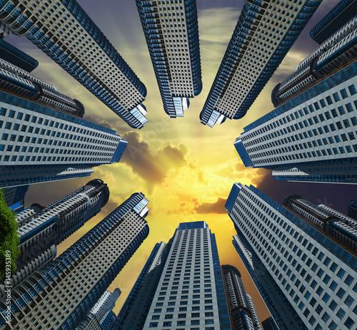Sky in circle of buildings