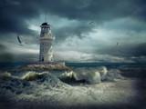 Fototapety Lighthouse on the sea under sky