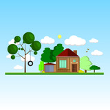 Landscape with wooden house, plants and trees, sunny day. Flat design