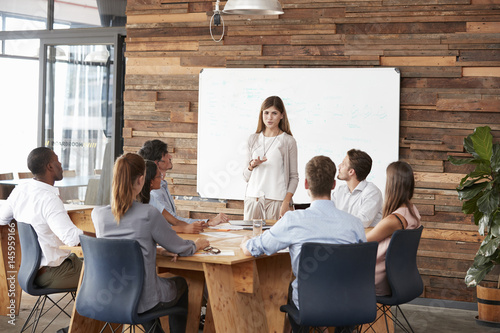 Mid adult woman giving a presentation to business colleagues Poster