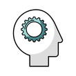 human head profile with gear vector illustration design