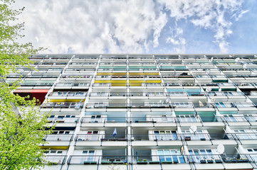 social housing in Berlin, facade with many balconies