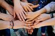 Multi generation family hands