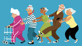 Fototapety Diverse group of active senior people dancing a conga line, EPS 8 vector illustration, no transparencies