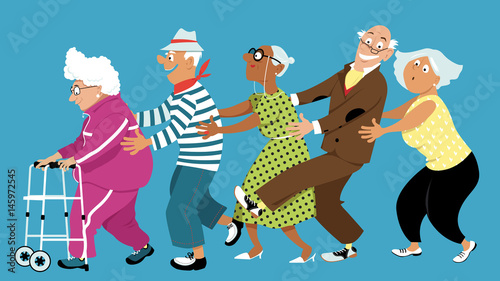 Fototapeta Diverse group of active senior people dancing a conga line, EPS 8 vector illustration, no transparencies