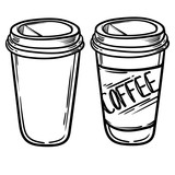 Set of vector glasses with coffee or tea. Hipster Coffee time. Vector Illustration. coffee to go. - 145976308