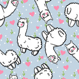 Seamless vector pattern with cute alpacas and hearts and floral background. Child illustration with a lama from Peru. In the Japanese anime style. - 145976576