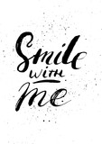 Smile with me - hand painted ink brush pen calligraphy with the