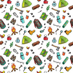 Camping nature hand drawn vector symbols and objects.