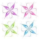 Set of colorful abstract flowers