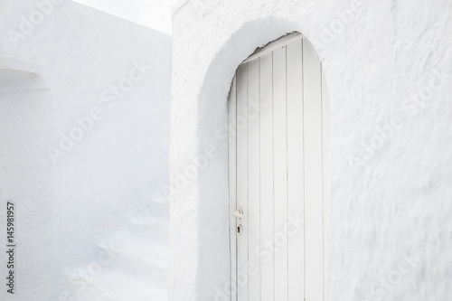 National white architecture on Santorini island, Greece.