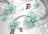 Abstract floral background with butterflies for design  - 145988707