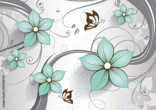 Fototapeta Abstract floral background with butterflies for design